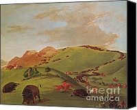 The American Buffalo Canvas Prints - Native American Indians, Buffalo Chase Canvas Print by Photo Researchers