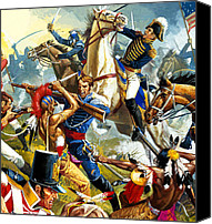 Military Uniform Painting Canvas Prints - Native American Indians vs American Soldiers Canvas Print by Severino Baraldi