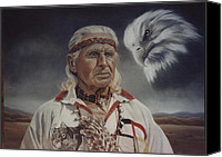 Photorealism Canvas Prints - Native Americans Canvas Print by Nanybel Salazar