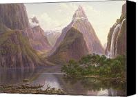 Grb Canvas Prints - Native figures in a canoe at Milford Sound Canvas Print by Eugen von Guerard
