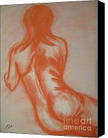 Female Figure  Drawings Canvas Prints - Natural Woman Canvas Print by Lj Lambert