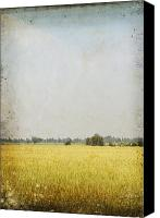 Parchment Canvas Prints - Nature Painting On Old Grunge Paper Canvas Print by Setsiri Silapasuwanchai