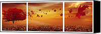 Sunset Digital Art Canvas Prints - Natures Art Canvas Print by Lourry Legarde