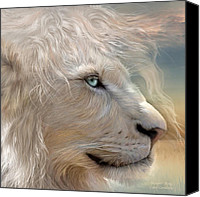 Lion Mixed Media Canvas Prints - Natures King Portrait Canvas Print by Carol Cavalaris