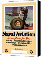 World War I Digital Art Canvas Prints - Naval Aviation Has A Place For You Canvas Print by War Is Hell Store