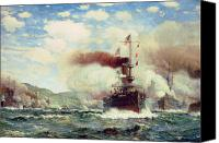 Frigate Canvas Prints - Naval Battle Explosion Canvas Print by James Gale Tyler