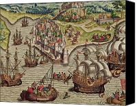 Engagement Drawings Canvas Prints - Naval Combat Canvas Print by Theodore de Bry