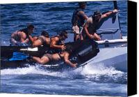 Navy Seals Canvas Prints - Navy Seals Practice High Speed Boat Canvas Print by Michael Wood