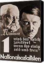 Adolf Canvas Prints - Nazi Poster With Images Of Adolf Hitler Canvas Print by Everett