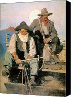 Cowboy Hat Canvas Prints - N.c. Wyeth: The Pay Stage Canvas Print by Granger
