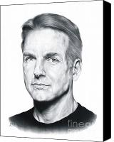 Celebrities Drawings Canvas Prints - NCIS Special Agent Leroy Jethro Gibbs Canvas Print by Sheryl Unwin