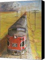 Train Painting Canvas Prints - Near Thistle  KS Canvas Print by Christopher Jenkins