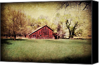 Trees Digital Art Canvas Prints - Nebraska Barn Canvas Print by Julie Hamilton