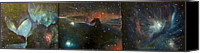 Space Art Canvas Prints - Nebula Triptych Canvas Print by Alizey Khan