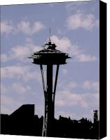 Seattle Tapestries Textiles Canvas Prints - Needle in the clouds Canvas Print by Tim Allen