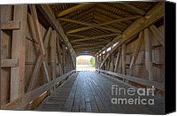 Indiana Autumn Canvas Prints - Neet Covered Bridge Interior Canvas Print by Alan Look
