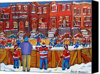 Hockey Sweater Canvas Prints - Neighborhood  Hockey Rink Canvas Print by Carole Spandau