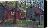 Landscapes Pastels Canvas Prints - Neighbors Barns Canvas Print by Donald Maier
