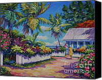 Cuba Painting Canvas Prints - Neighbours Canvas Print by John Clark