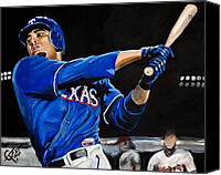 Rangers Canvas Prints - Nelson Cruz Canvas Print by Tom Carlton