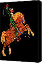 Waving Canvas Prints - Neon Cowboy Las Vegas Canvas Print by Garry Gay
