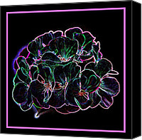 Lights Framed Prints Canvas Prints - Neon Flowers Canvas Print by Angie McKenzie