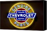 Chevrolet Canvas Prints - Neon Genuine Chevrolet Parts Sign Canvas Print by Mike McGlothlen
