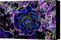 Black Rose Canvas Prints - Neon Rose Canvas Print by Chuck Staley