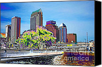 Tampa Digital Art Canvas Prints - Neon Tampa Canvas Print by Carol Groenen