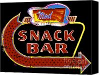 Family Room Canvas Prints - Neon Vintage Snack Bar Sign Canvas Print by ArtyZen Studios