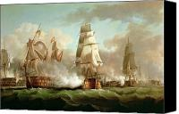 Engagement Painting Canvas Prints - Neptune engaging Trafalgar Canvas Print by J Francis Sartorius