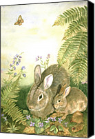 Forest Floor Painting Canvas Prints - Nesting Bunnies Canvas Print by Patricia Pushaw