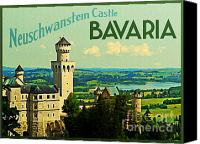 Bayern Canvas Prints - Neuschwanstein Castle Bavaria Canvas Print by Vintage Poster Designs