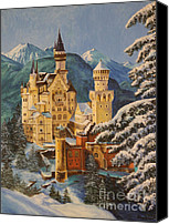 Bavarian Canvas Prints - Neuschwanstein Castle in Winter Canvas Print by Charlotte Blanchard