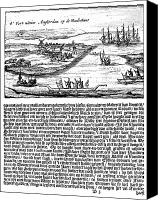 Indian Canoe Canvas Prints - NEW AMSTERDAM, 1620s Canvas Print by Granger