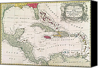 Geography Drawings Canvas Prints - New and accurate map of the West Indies Canvas Print by American School