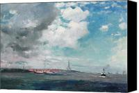 Cloudy Painting Canvas Prints - New Brighton from the Mersey Canvas Print by JH Hay