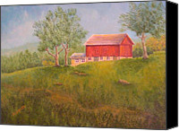 Pamela Allegretto-franz Canvas Prints - New England Red Barn At Sunrise Canvas Print by Pamela Allegretto