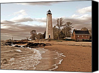 Long Pyrography Canvas Prints - New Haven Lighthouse Canvas Print by Frank Garciarubio