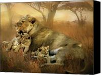 Lion Mixed Media Canvas Prints - New Life Canvas Print by Carol Cavalaris