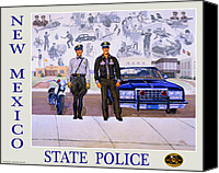 Santa Fe Canvas Prints - New Mexico State Police Poster Canvas Print by Randy Follis