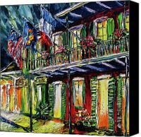 Beata Canvas Prints - New Orleans at Night Painting - Flags Canvas Print by Beata Sasik