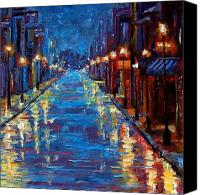 Night Canvas Prints - New Orleans Bourbon Street Canvas Print by Debra Hurd