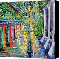 Beata Canvas Prints - New Orleans Oil Painting - Pirates Alley Garden Canvas Print by Beata Sasik