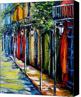 Beata Canvas Prints - New Orleans Oil Painting Balconies Canvas Print by Beata Sasik