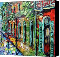 Beata Canvas Prints - New Orleans Painting - Glowing Lanterns Canvas Print by Beata Sasik