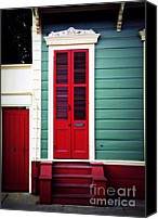 Spanish Style Canvas Prints - New Orleans Red Canvas Print by Perry Webster
