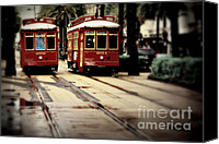 Trolley Canvas Prints - New Orleans Red Streetcars Canvas Print by Perry Webster