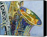 Saxaphone Painting Canvas Prints - New Orleans Reeds Canvas Print by Jenny Armitage