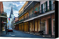 Architecture Photo Canvas Prints - New Orleans Street Canvas Print by Inge Johnsson